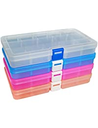 DUOFIRE Plastik Aufbewahrungsbox Einstellbar Fächer Sortimentskasten Schmuckschatulle Werkzeugcontainer (15 Raster X 4 Packungen, 4 Farben)