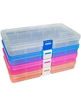 DUOFIRE Plastik Aufbewahrungsbox Einstellbar Fächer Sortimentskasten Schmuckschatulle Werkzeugcontainer (15 Raster...