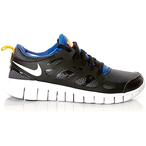 Nike Free Run 2 (GS) Laufschuhe black-white-total orange-game royal - 37,5