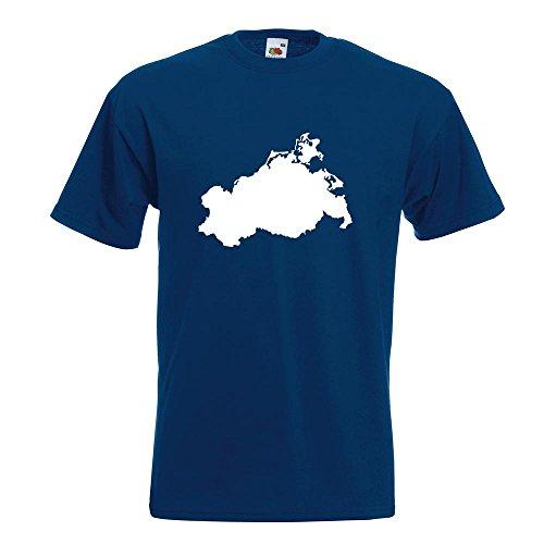 KIWISTAR - Mecklenburg - Vorpommern Silhouette T-Shirt in 15 verschiedenen Farben - Herren Funshirt bedruckt Design Sprüche Spruch Motive Oberteil Baumwolle Print Größe S M L XL XXL Navy