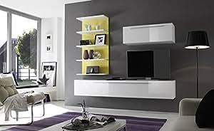 Matelpro-Composition TV murale design blanc laqué/jaune Almovar