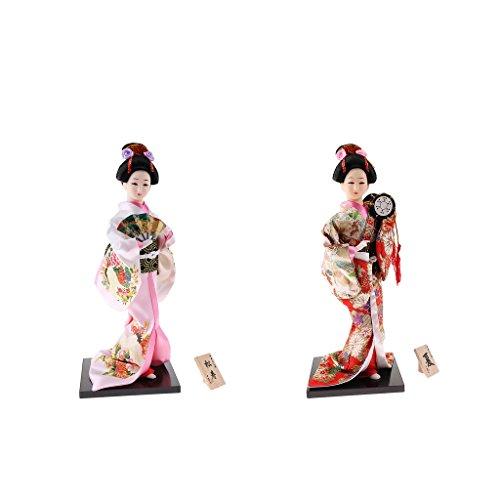 D DOLITY 2 Stück Japanische Geisha-Puppe im weißen Kimono zur Innenausstattung, Zufällige Stil