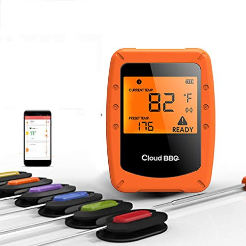 KHKJ 4.0 Wireless Digital Bluetooth BBQ Thermometer with 6 Probes Control Food Cooking Timer Oven Meat Grill Thermometer Kitchen Tool (Digitale Thermometer-timer Cooking)