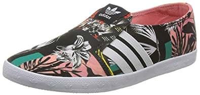 adidas Originals Women's Adria Ps Slip-On W White and Pink Canvas - 4 UK