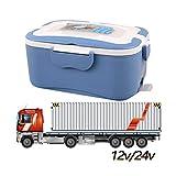 DAMAILE Elektrische Lunchbox Speisenwärmer Edelstahl Warmhaltebox Tragbare Food Box Für Nahrung Auto/LKW,Blue,12V