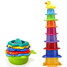 AidShunN Bath Stacking Cups 6 Tazas de Juguete Develop Bath Play Time Bath Toys Rubber Animals