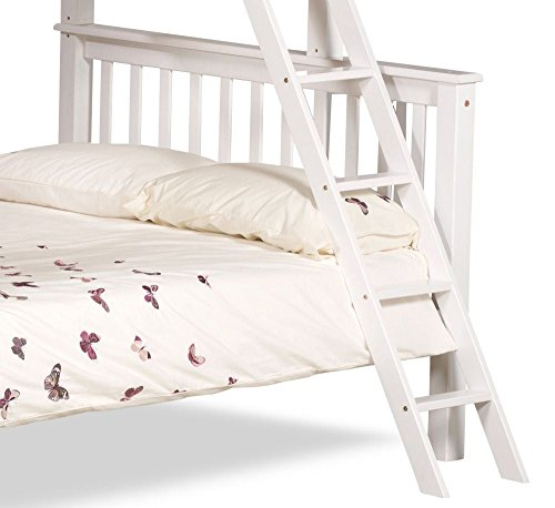 Happy Beds Chiltern White Wooden Triple Sleeper Bunk Bed Furniture Bedroom with 2 Deluxe Reflex Spring Mattresses 3' Single Top 90 x 190 cm and 4'6'' Double Bottom 135 x 190 cm