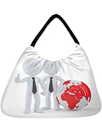 Snoogg Business People Standing In Front Of The Globe Business Concept Beach Tote Shopper Bag Handbag Shoulder