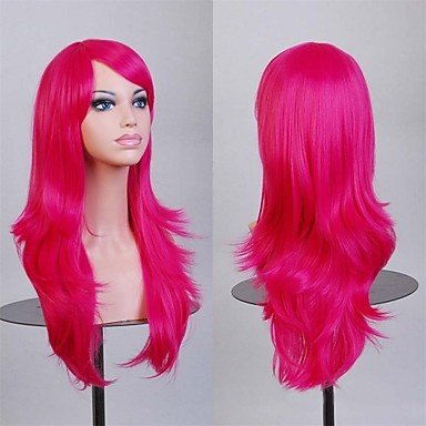 HJL-70 cm perruques cosplay Fasion perruques synth¨¦tiques couleur de vin rouge , fuxia