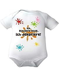 Body Baby mit Druck ICH KLECKERE NICHT, ICH DEKORIERE / Kurzarmbody Mädchen Motiv Jungen