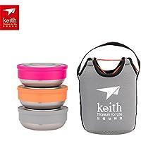 Titanio cajas de almuerzo 3piezas/set ultraligero al aire libre Camping titanio cuenco con tapa, Orange+Gray+Pink