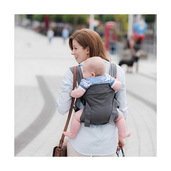 Izmi Baby Carrier (3.2kg-15kg), New Born Carrier, Multiple Carrying Positions, Mid Grey Izmi Use from birth (3.2kg-15kg), new born cushion inserts included with carrier 4 carrying positions: front carry, outward facing carry, hip carry or back carry Adjustable seat width enables the Izmi Baby Carrier to adapt as your little one grows 5