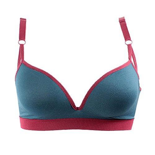 Dopobo Brassiere de Sport & Fitness ou Dormir , Yoga Soutien-Gorge avec 3/4Tasse Sans Armatures Pour Femme Bleu