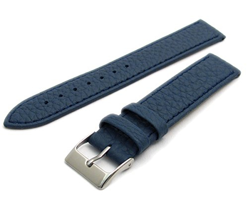 Super Soft Cow Hide Leder Uhrenarmband von Condor Mid Blau 22mm breit, chrom (Silber Farbe) Schnalle 348r.05