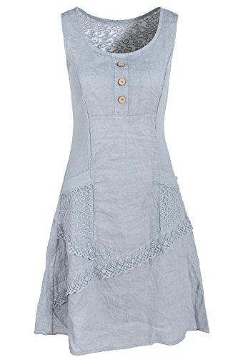 GS-Fashion Leinenkleid Damen Sommer mit Spitze am Rücken KLeid ärmellos  knielang Grau 36 (Herstellergröße M) 842ff6fbe6
