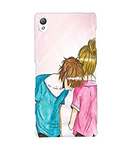 Fuson Love Couple Back Case Cover for SONY XPERIA Z3 - D4031