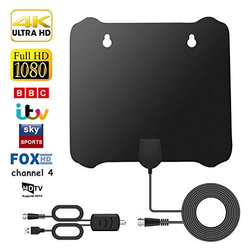 Antena TV Interior TV Digital con Amplificador de Señal Antena TNT de 120 Millas con Amplificador de y cable Coaxial de 13.7 FT, Compatible con Canales Smart HDTV 1080P HD VHF UHF FM