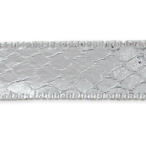 Nastro imitazione pelle di serpente mm. 12,5 Argentato x 1m