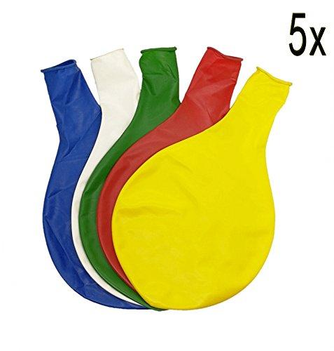 SYOO 5 x diámetro 90cm, Gigante Globo látex Redondo Globo decoración para Boda cumpleaños Bautismo Baby Shower niños Fiesta, Blanco Amarillo Rojo Azul Verde