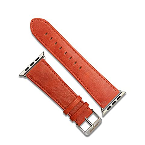 Jisoncase Apple Watch 42mm Cuff Band Bracelet Style Geunie Leather Wrist Strap with a Classic & Modern Mbuckle & Stainless Steel Clasp for All iWatch Apple Watch Red