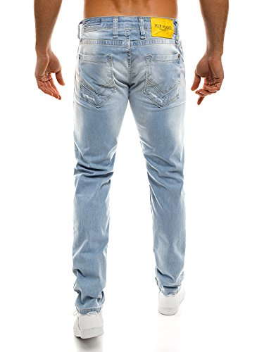 OZONEE Herren Hose Jeanshose Straight-Cut Freizeithose Clubwear Slim Fit ORIGINAL 2191 Blau