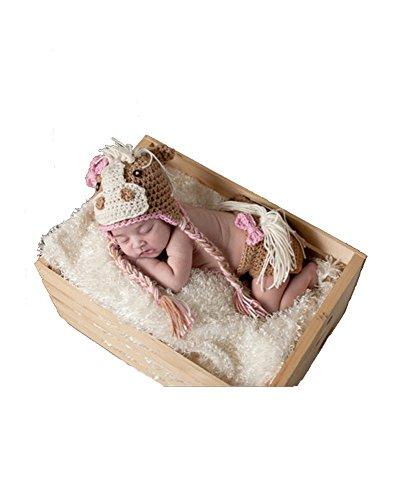 DAYAN Neugeborenes Mädchen-Jungen-Baby-Fotografie Prop Crochet Strickhandgemachte Pony Kostüm