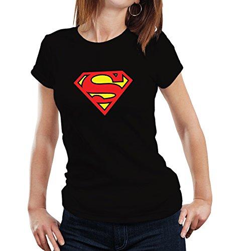 Fanideaz Branded Round Neck Cotton Superman Tshirt for Women_Black_S