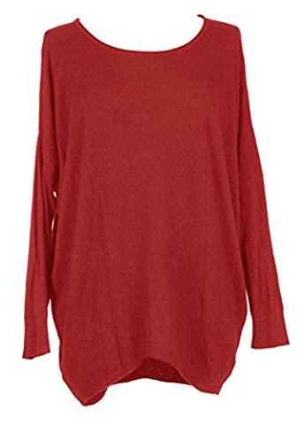Ladies Womens Lagenlook Quirky Button Back Detail Long Sleeves Knitted Batwing Oversize Wool Jumper Sweater Tunic Top Loose Baggy One Size Plus UK 10-20 (One Size Plus, Red)