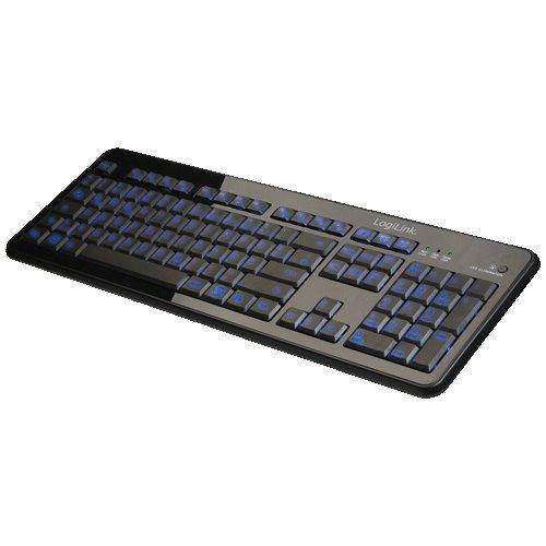 LogiLink ID0080-2-Farbig Beleuchtete USB Tastatur mit 105 Tasten in schwarz (Deutsches Tastaturlayout/QWERTZ) - Tasten, Tastatur Beleuchtete