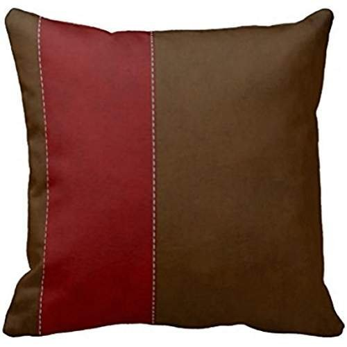 FAFANIQ Fashion Decorative Red Stripe On Chocolate Brown Suede Throw Pillow Case Cotton Suede Cap