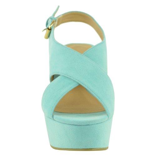 DONNE alto tacco medio plateau forma piatta Scarpe con zeppa sandali con punta aperta taglia menta verde camoscio
