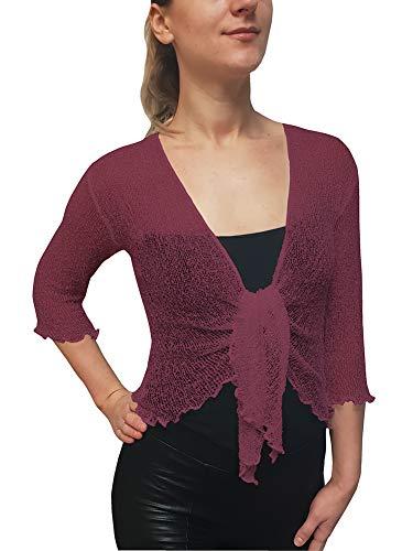 Damen Crochet Strecken Fisch-Netz Boleroshrug Mutterschaft Krawatte an der Taille Cardigan (Eine Größe passt DE 48-54, Rosa) - Kleid Mutterschaft Plus Größe Rosa