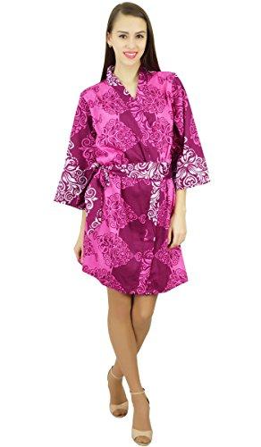 Amoghah Frauen Kurz Damast-Druck Baumwolle Satinrobe Bridesmaid Getting Ready Robe Mehrfarben