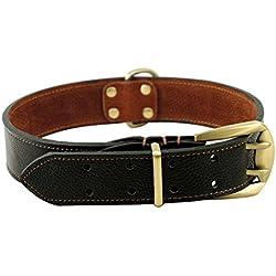 Rantow Ajustable Collar de cuero fuerte para perros grandes, longitud ajustable 23.5 pulgadas a 27.5 pulgadas, 1,57 pulgadas de ancho (Negro)