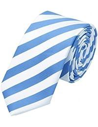 Gestreifte schmale Krawatte v. Fabio Farini in blau weiß