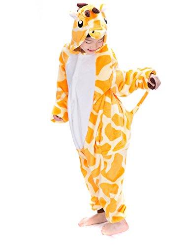 Pyjamas Combinaisons Animaux Garçons Filles Dormeurs Kigurumi Enfants Pyjamas Vêtements Onesie (Girafe, 125 Adapté pour hauteur 138-149CM)