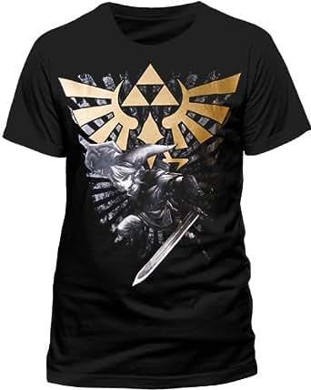 T-Shirt 'The Legend of Zelda' - Zelda With Link - noir - Taille S