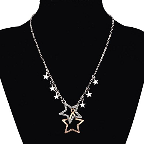 Double Pentagram Star Crystal Rhinestone Sweater Chain Catenina Collana Necklace