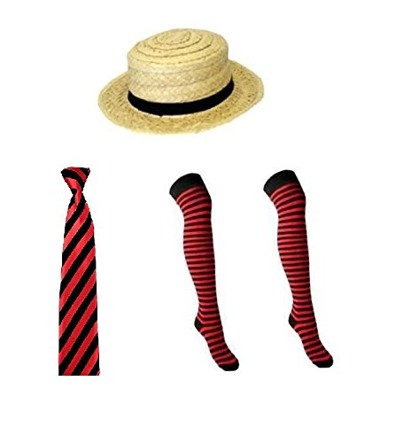 Red And Black School Girl Fancy Dress Straw Boater Hat Tie Over The Knee Socks School Disco (RBFashionsClothing)