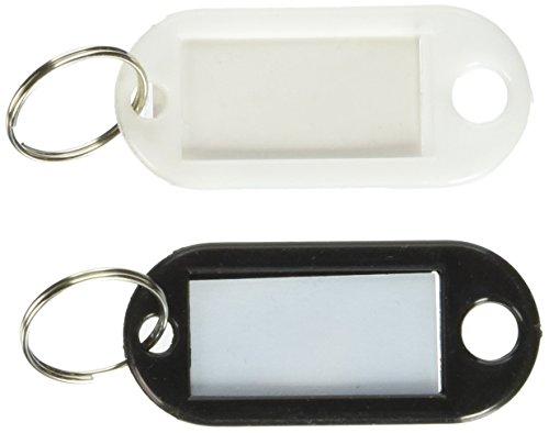 Sourcingmap Kunststoff Gepäck ID Label Namensschild Clip Schlüsselanhänger-Schwarz/Weiß (100Stück)