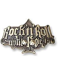 RUMBLE59 Hebilla cinturón Buckle Rock'n Roll until I die Brass Rockabilly RUM277