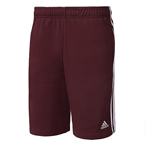 adidas Herren Essentials 3S French Terry Shorts, Maroon/White, L (Kurz French-terry-short)