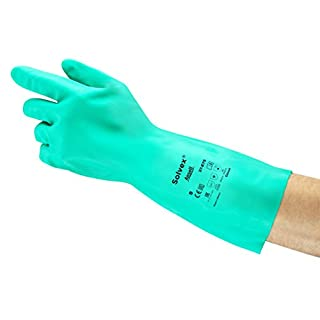Ansell Solvex 37-675 Nitrile gloves, chemical & liquid protection, Green, Size 8 (Pack of 12 pairs)