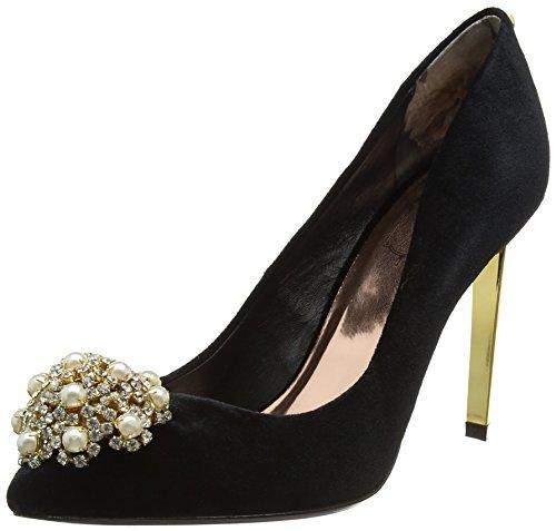 Bow Velvet High Heel Pumps (Ted Baker Damen Peetch Pumps, Schwarz (Black), 39 EU)