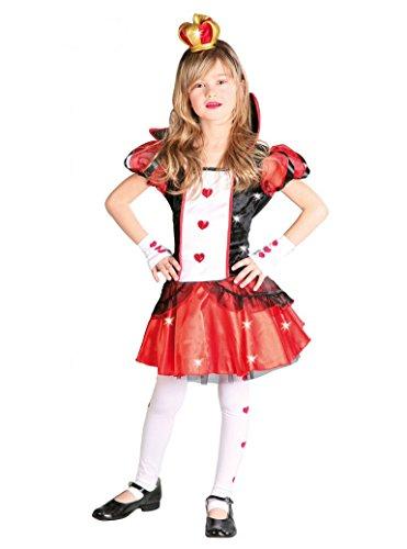 Königin der Herzen - Kostüm für Mädchen Gr. 110 - 146, Größe:128/134