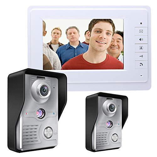 H.l kit campanello videocitofono da 7 pollici, telecamera a infrarossi con visione notturna impermeabile, sistema di controllo accessi, pioggia intelligente per campanello e antimanomissione