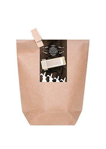 10 Marron Sac à fond Croix avec pince et Stickers en bois pour fermer le sac Pochettes Cadeaux Vintage de Pâques avec lapins et champ de noms (Taille?: 14 x 22 x 5,6 cm)