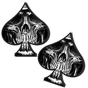 2 Stück Vinyl Aufkleber Autoaufkleber Spielkarten Pik Skull Schädel Totenkopf Funny Stickers Auto Moto Motorrad Fahrrad Helm Fenster Tür Tuning B 61