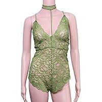 LUOEM Ropa Interior Atractiva de la Ropa de Dormir del cordón de la Ropa de Noche del Cuello en V de Las Mujeres con la Tanga para el tamaño L de Las señoras (Verde)