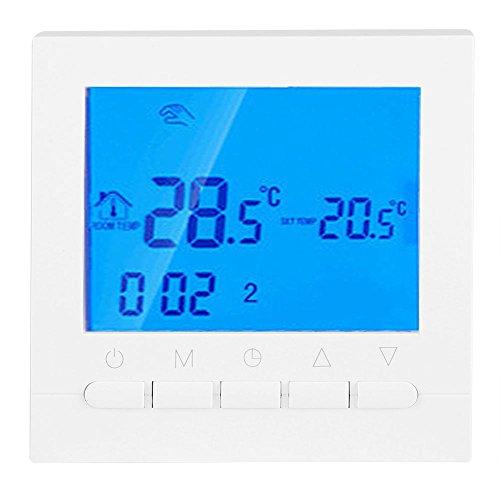 Fdit Heizkörperregler Zubehör Digitale Thermostat Große LCD Display Programmierbare WiFi Fernbedienung Raumtemperaturregler Heizung Thermostat Weiß Hintergrundbeleuchtung